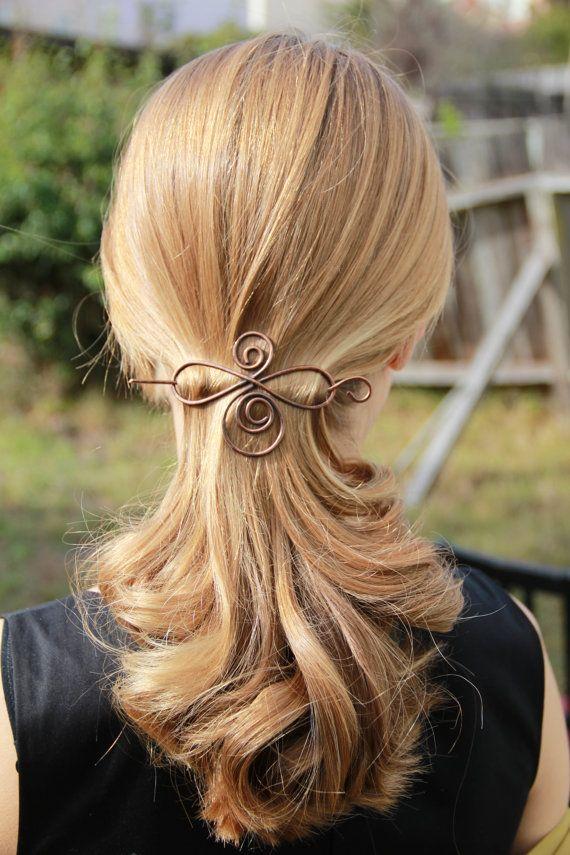 Copper hair slide metal hair pin. hair clip wire by kapelika, $20.00