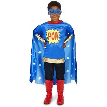 Pop Art Comic Super Hero POW Boy Child Halloween Costume, Size: Medium, Blue
