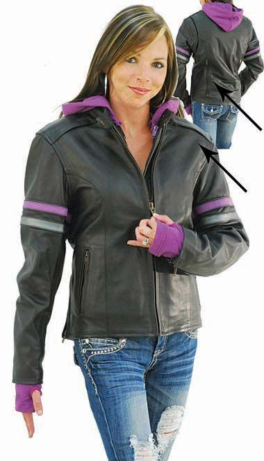 Purple Stripe Vented Motorcycle Jacket with Hoodie | Perfect!! I would love to see it in green….. :)