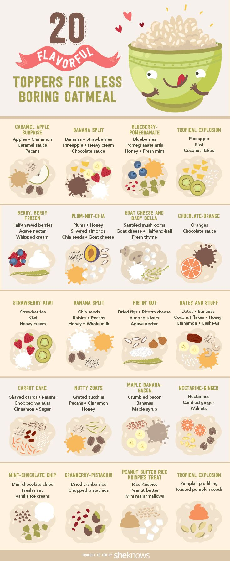 This oatmeal recipe guide has all the toppings you could think of for your breakfast. Oatmeal will never be boring again!