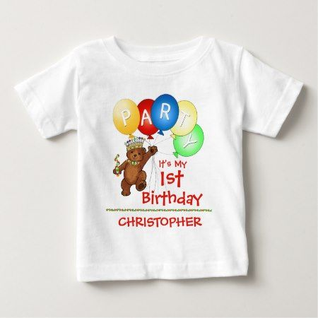 Royal Bear 1st Birthday Party Custom Baby T-Shirt - tap to personalize and get yours