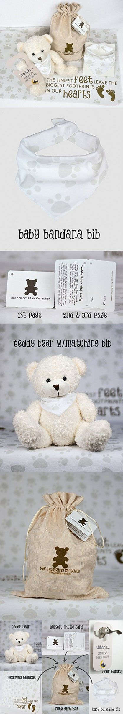 Baby Bear Gift Set including Baby Bandana Bib, Receiving Blanket, Plush Teddy Bear, Baby's Door Sign, and Bear Necessities Drawstring Bag from Happy Baby Skin