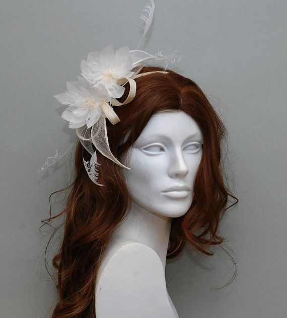 White fascinator with feather flowers wedding by MargeIilane