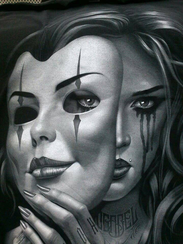 "Something like this would be PERFECT for my ""smile of disguise"" tattoo!  Smiling mask, sad girl."
