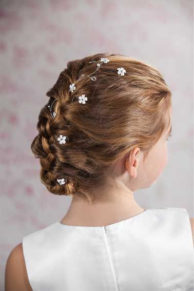 Communion Hair Vine - Flowers and Beaded Hair Wire for Communion Hairstyles - Emmerling 77372 - Floral White Flowers Pearls and Crystals - hair vine