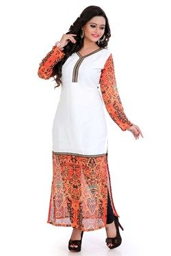 Kurtis,Admyrin,White and Orange Georgette Digital Printed Kurti
