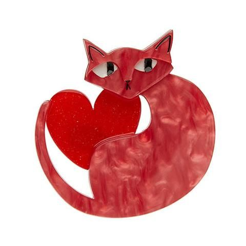 """Erstwilder Limited Edition Linda Love Cat Brooch. """"Cat lovers love Linda, And Linda loves cat lovers. The only thing Linda loves more than that is love. """""""
