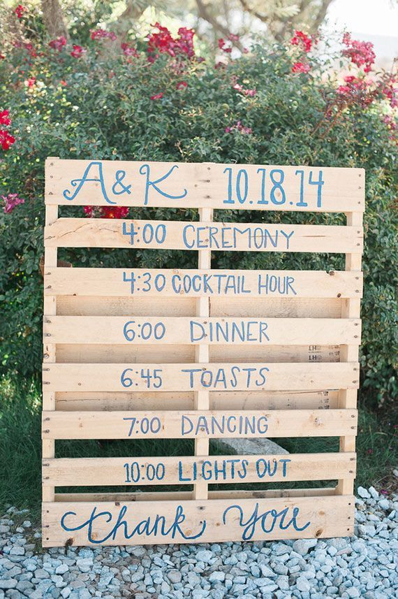 Kevin + Amanda's wedding has everything you'd want in a rustic outdoor affair. Barn? Check. Oak trees? Uh huh. Sprawling ranch landscape? Huge enough for lots of colorful décor and DIYs. They used a pallet for their schedule of events.