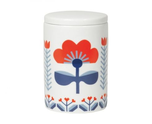 The Folklore tall canister by Danica Studio is decorated with pretty Scandinavian-inspired red and blue patterns. This ceramic container, which can be used in the kitchen, bathroom or on a dressing table, has a glossy finish. -3 x 4.5 (h) inches