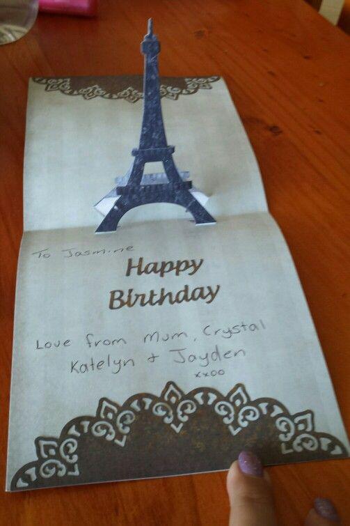 Inside of eiffel tower card.    Using Elizabeth crafts dies