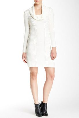 A. BYER Long Sleeve Cowl Neck Sweater Dress - Shop for women's Sweater - IVORY Sweater