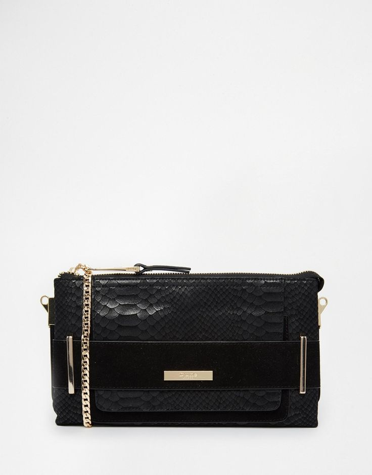 Dune Emma Textured Snake Style Clutch with X Body Strap