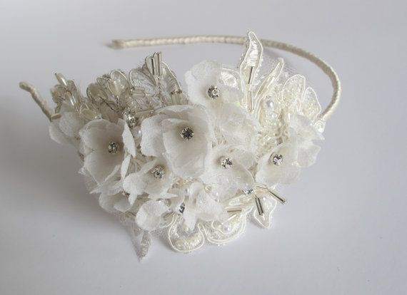 Bridal handmade floral wedding headband £85 by LucyFisherDesigns