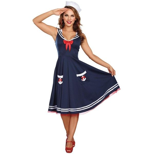 All Aboard Sailor Adult Costume ($35) ❤ liked on Polyvore featuring costumes, halloween costumes, adult halloween costumes, adult costumes, blue costume, adult sailor costume and sailor costume