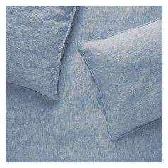 LINEN CHAMBRAY Blue linen double duvet set