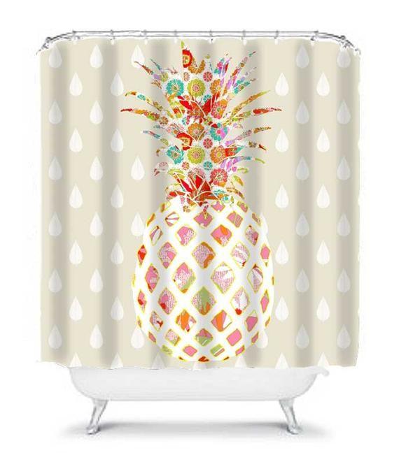 Pineapple Bathroom Decor Unique Shower Curtain Pineapple Shower Curtain Cool Shower Curt Unique Shower Curtain Shower Curtain Decor Bathroom Shower Curtains