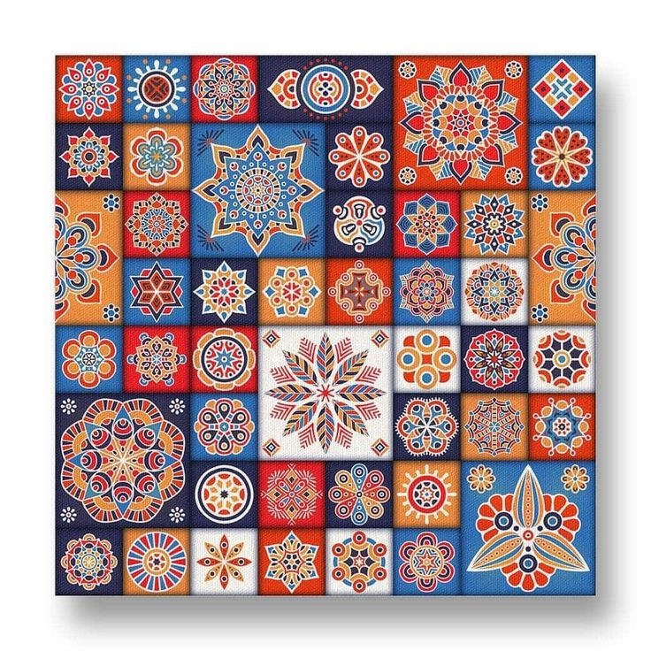 Floral Tiles Canvas Print.  This stretch canvas print has vivid blue, orange and red tones in a tiled floral motif.  It looks stunning against any wall.