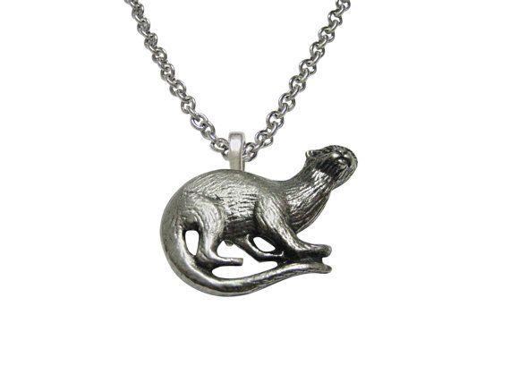 Zilver gestemde Otter hanger ketting