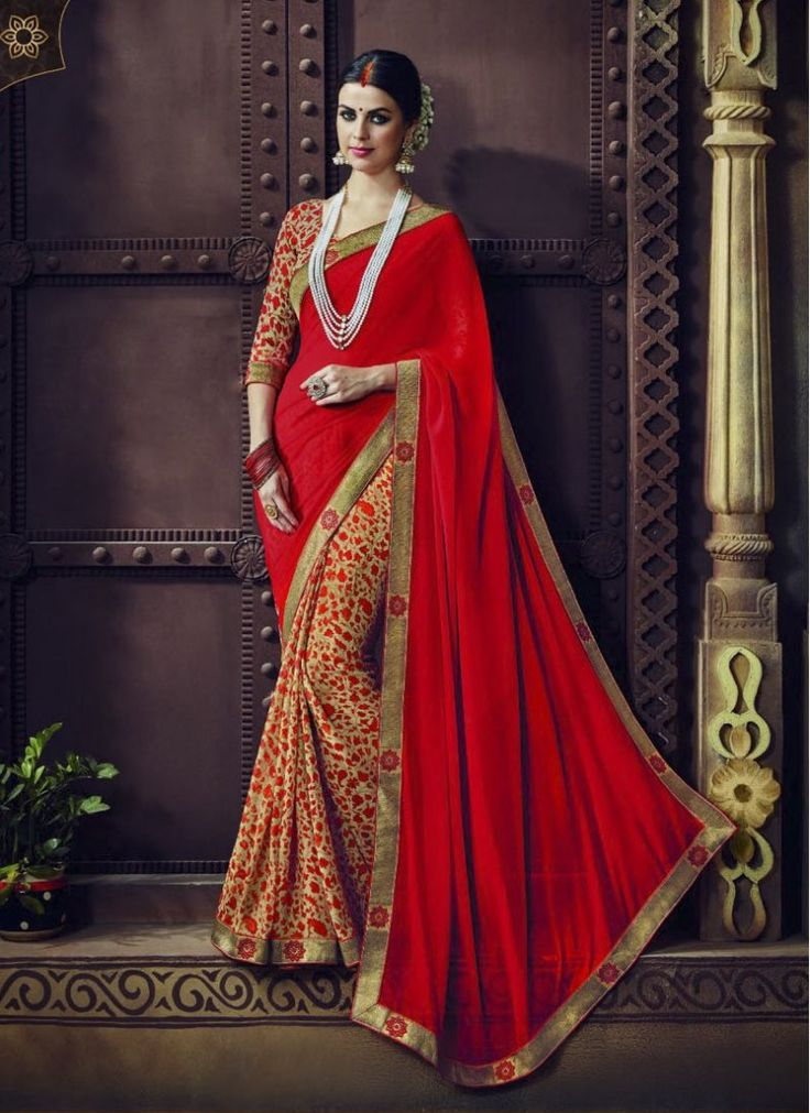 Ceremonial Beige and Red Traditional  Saree