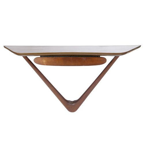 Vladimir Kagan; Walnut Wall-Mounted Console, 1950s.: Console Table