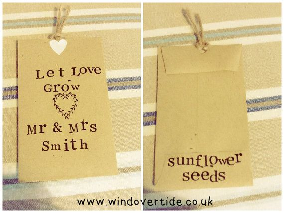 Rustic wedding favours | Sunflower seeds | Let Love Grow | Personalised | Set of 10
