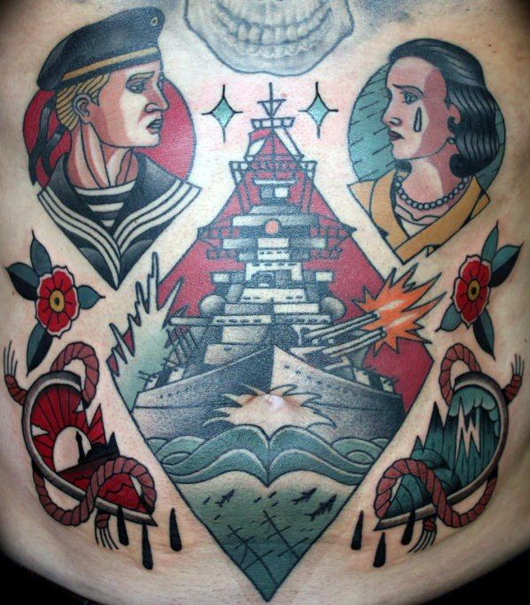 40 Battleship Tattoo Designs For Men Manly Ink Ideas Tattoo Designs Men Navy Tattoos Battleship