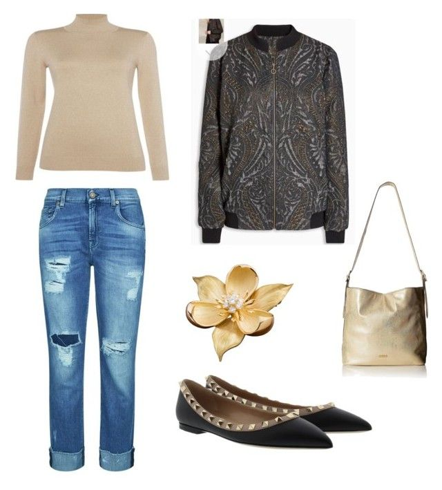 """Episode gold jumper, Next bomber & Dune halogen pump"" by fluffybnnii on Polyvore featuring 7 For All Mankind, Valentino and ALDO"