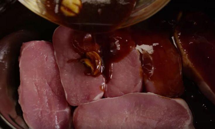 pork chops ¼ cup brown sugar 1 teaspoon ground ginger ½ cup soy sauce ¼ cup ketchup 2 cloves of smashed garlic salt & pepper best_slow_cooker_pork_chop