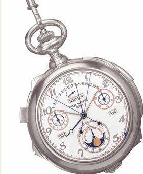 Patek Philippe Caliber 89 2523 fabricado em 1989 e vendido em 2004  Este relógio de bolso é considerado o relógio mais complexo do mundo. Com um total de 33 funções, inclui hora do nascer e pôr-do-sol e mostradores alternativos para um segundo fuso horário.  Preço: 5.002.500 dólares (aproximadamente 3.243.000 euros)