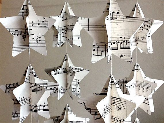 Vintage Novel/Map/Music Traditional Paper Mobile Star Strings - Nursery Home Decor