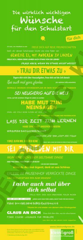 Poster: Die wirklich wichtigen Wünsche für den Schulstart (Hochformat 30 x 80 cm, gefaltet)