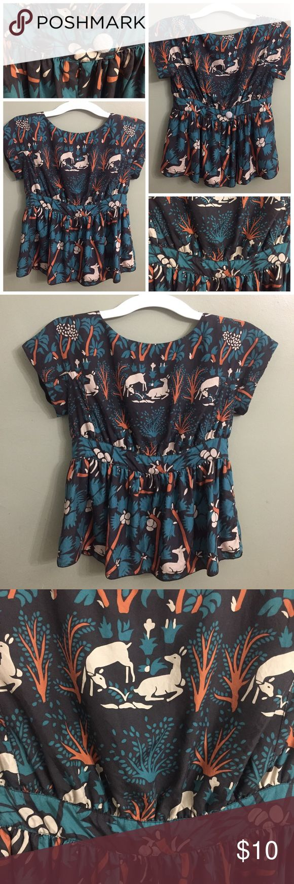 """Anna Sui for Anthropologie """"Deer"""" Print Top, 0 Anna Sui for Anthropologie """"Deer"""" Print Top, 0; freshly laundered, mid-zip closure at the back with button and snap closure. GUC, normal wash wear and small yellowish stain as pictured. Anna Sui Tops Blouses"""