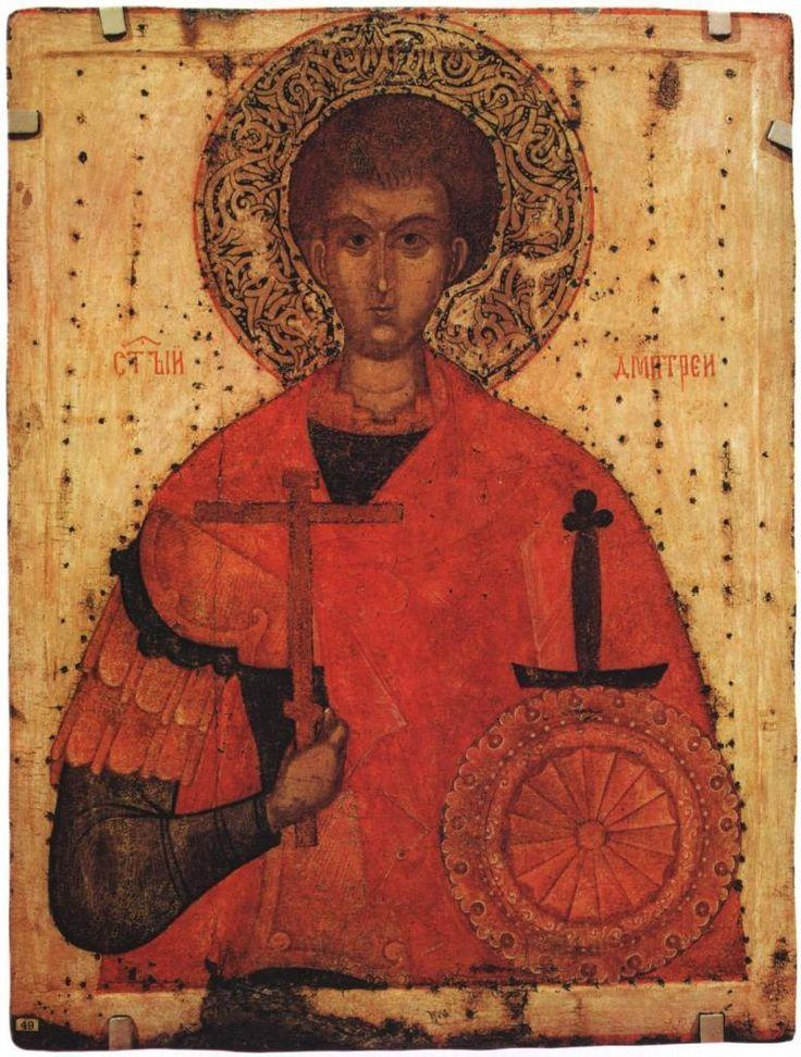 Димитрий Солунский (псковская икона XV века, Русский музей) Ejdzej, Public Domain