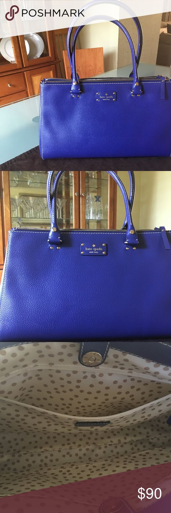 Kate Spade Wellesley bag Holidayblue Beautiful large Kate Spade Wellesley Martine bag. Cute Gold polka dot interior.. magnetic snap closure 2 full zip compartment,expandable snap closer both end .. excellent condition.. interior zip.. used a couple of times.. comes with dust bag kate spade Bags Shoulder Bags