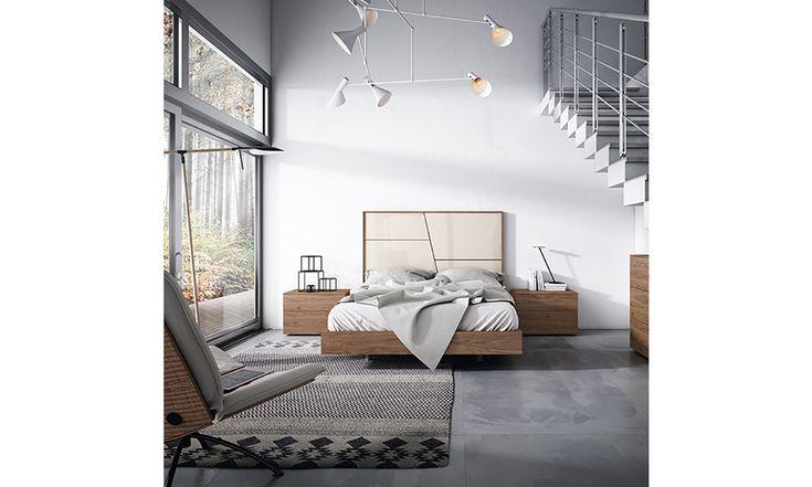 Puzle de formas geométricas de Gráfika. Encaje perfecto resaltado por el nogal.  #Gráfika #MueblesMesegue #Dormitorios #Descansar #Despertar
