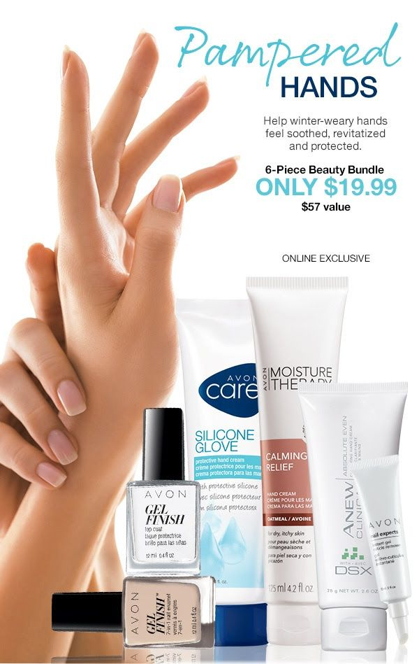 Limited-time offer! Features: Nail Experts Instant Gel Cuticle Remover, Avon Care Silicone Glove Protective Hand Cream, Anew Clinical Absolute Even Clarifying Hand Cream with DSX, Moisture Therapy Calming Relief Hand Cream, Avon Gel Finish 7-in-1 Nail Enamel in Nudeitude, and Gel Finish Top Coat Reduces cracking and chipping to help protect your mani.