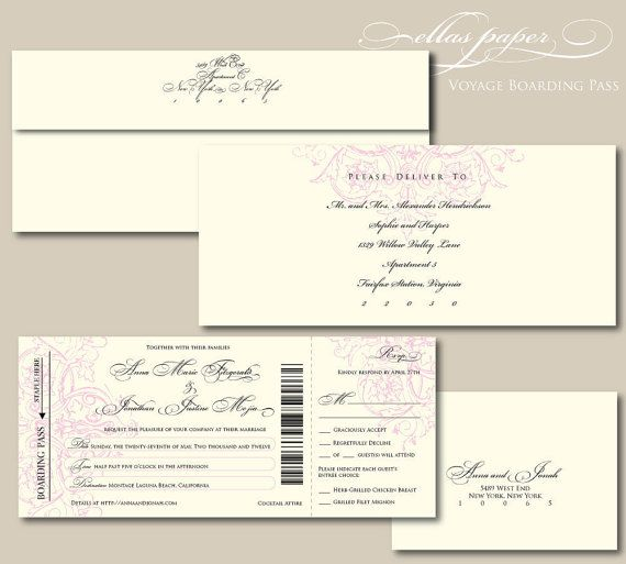Elegant Boarding Pass Wedding Invitation With Perforated Rsvp   Voyage