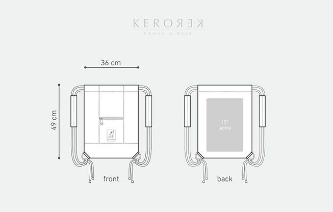 Size reference photo for the drawstring backpack collection with personality for my brand Kerorek. The Kerorek bags will be soon available for pre-order in Indiegogo. The bag will be available both in leather and in all vegan canvas series.