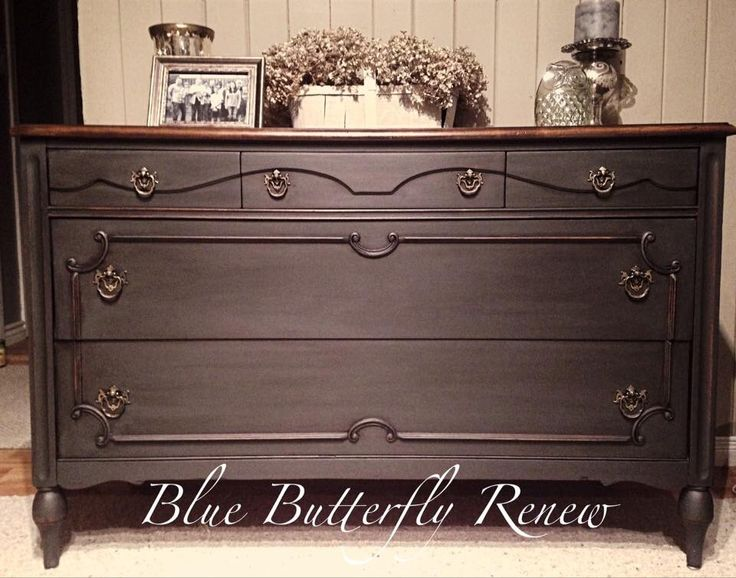 Dresser done in Annie Sloan Chalk Paint Graphite with dark wax. Top left natural
