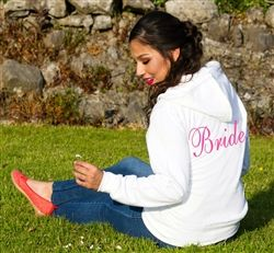 Personalised Bridal Hoodie! White hoodie to keep the Bride cosy and comfy - personalised embridory on the back. Available from WowWee.ie: €29.99