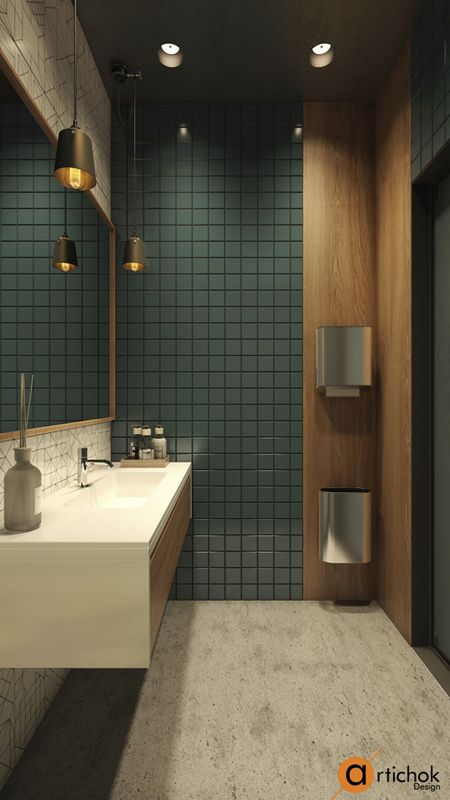 WC design ideas Dark freen toilet in loft style Идеи дизайна санузла, туалет в темно-зеленом цвете Современный дизайн туалета в стиле лофт