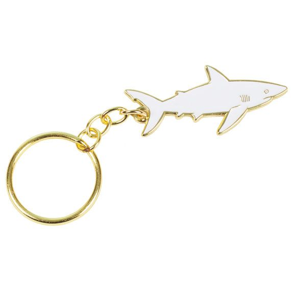 White and Gold Shark Keychain by lorienstern on Etsy