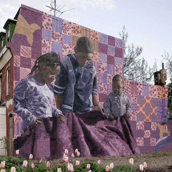 """Public mural program in Philadelphia, Pennsylvania. """"I think it pisses God off when you walk by the color purple in a field and don't notice it."""" Shug (the Color Purple)"""