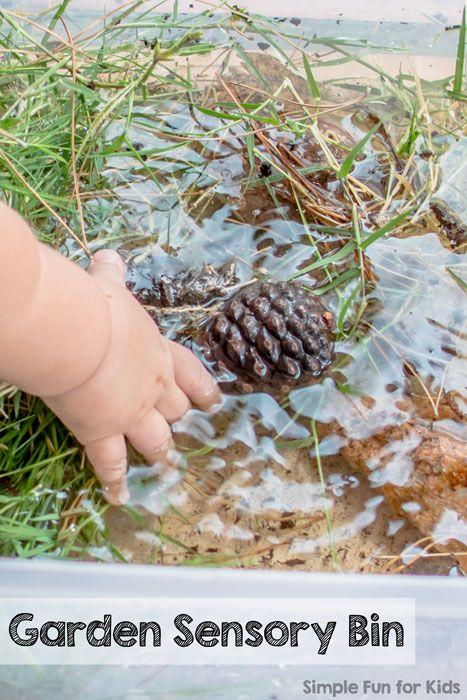 Alphabet Sensory Activities Series: G is for Garden Sensory Bin - exploring natural items from our backyard!