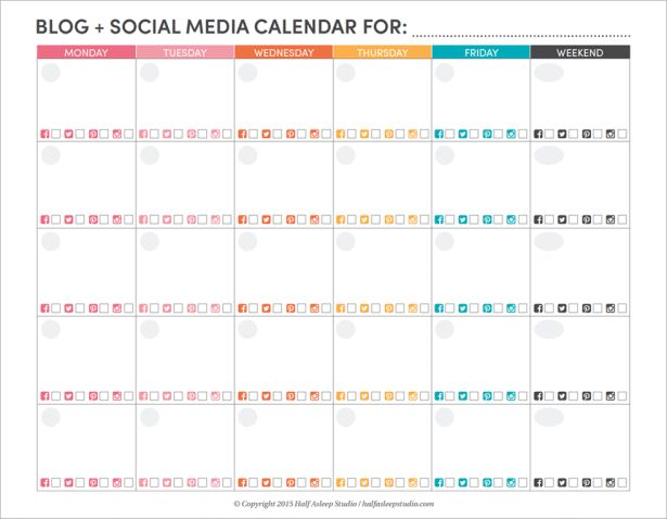blog + social media editorial calendar printable / half asleep studio.