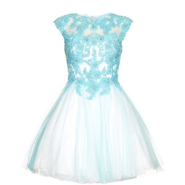 WINNIE Aqua Blue Lace Applique Prom Dress ($510) ❤ liked on Polyvore featuring dresses, vestidos, short dresses, lace mini dress, beaded prom dresses, short cocktail prom dresses and blue dress