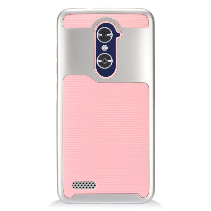 EGC Chrome Hybrid ZTE ZMAX PRO Case - Silver/Pink