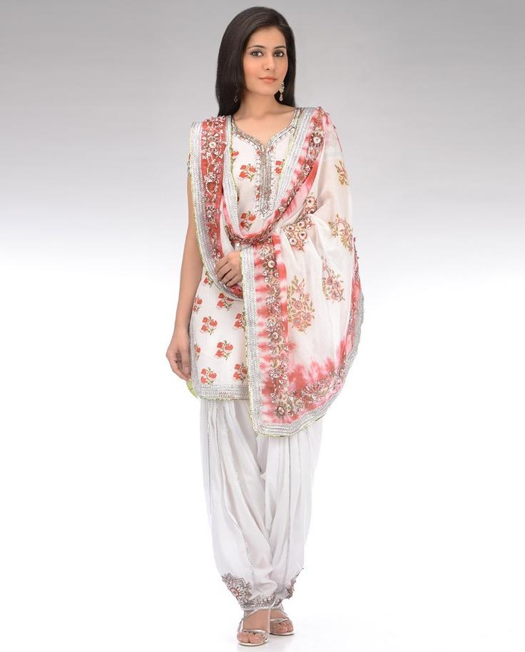 Pearl White Floral Printed Patiala Suit with Shibori Dupatta
