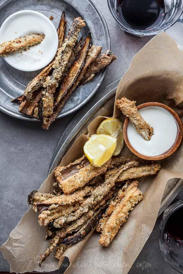 baked eggplant fries with goat cheese dip.