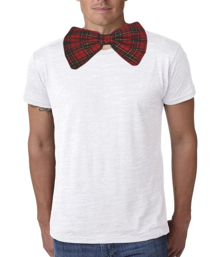 Adults Red & Gold X-Mas Tartan Giant Bow Tie Funny Burns Night Fancy Dress